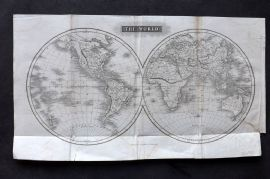 Arrowsmith 1824 Antique Map. The World - Twin Hemispheres